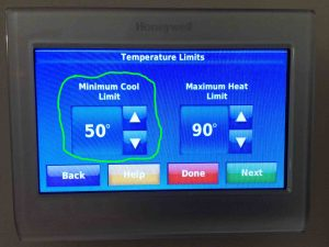 Picture of the RTH9580WF WiFi thermostat, showing its -Temperature Limits- screen, with the -Minimum Cool Limit- adjustment highlighted. Set temperature range on Honeywell thermostat.
