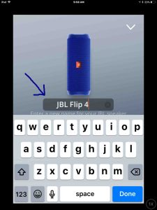 JBL Connect Plus app screenshot picture gallery. Screenshot of the JBL Connect app on iOS, showing its -Change Speaker Name- screen, with the Edit box highlighted.