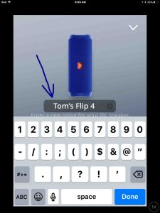 Screenshot of the JBL Connect app on iOS, showing its -Change Speaker Name- edit box with a new name filled in.