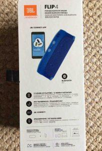 JBL Flip 4 portable speaker, original box, side 3.  JBL Flip 4 portable Bluetooth speaker picture gallery.