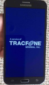 How to reboot Samsung Galaxy J7 Sky Pro TracFone Android phone. Picture of the Samsung Sky Pro J7 Galaxy smart phone, showing its -Powering Down- screen.