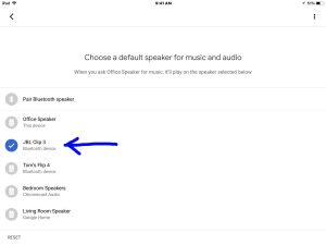 How to pair JBL Clip 3 with Google Home speakers. Picture of the Google Home app on iOS, showing its -Choose Default Speaker- screen, with the JBL Clip 3 speaker highlighted.