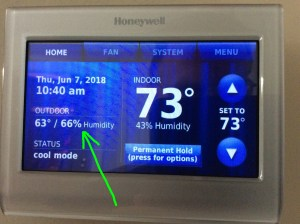 Screenshot of the Honeywell RTH9580WF thermostat, showing outdoor temperature and humidity, the -Waiting for Update- message gone.