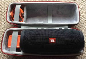 Picture of the Faylapa EVA hard case for the JBL Charge 3 Bluetooth speaker. Showing the case open, with the speaker inside. JBL Charge 3 power bank Bluetooth speaker review, features, specs.