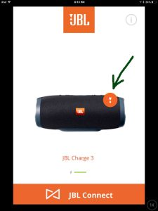 Screenshot of the JBL Connect Plus app on iOS. Showing the JBL Charge 3 speaker, needing a firmware update. Notification symbol for that is highlighted. How to run JBL Charge 3 firmware check.