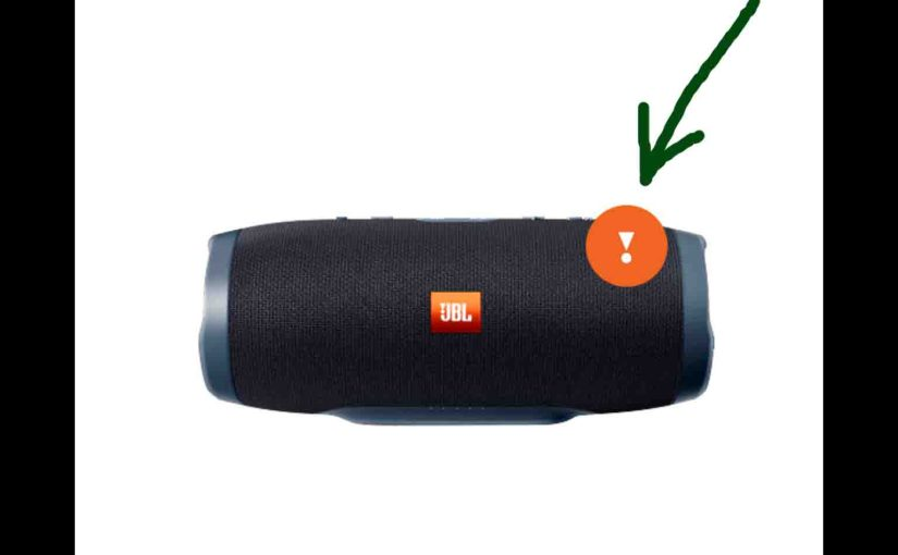 Screenshot of the JBL Connect Plus app on iOS. Showing the JBL Charge 3 speaker, needing a firmware update. Notification symbol for that is highlighted.