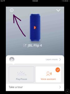 Screenshot of the JBL Connect Plus app on iOS. Displaying the JBL Flip 4 Settings page, with the -Information- button highlighted. Finding JBL Flip 4 Bluetooth speaker current firmware version.
