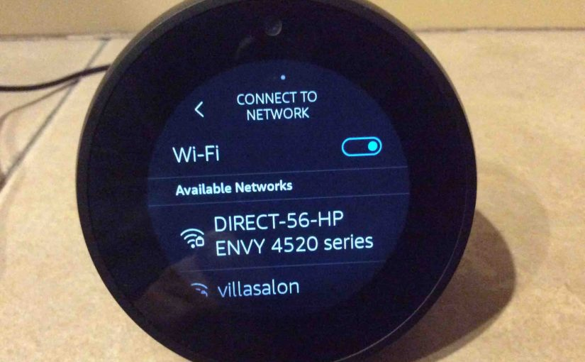Picture of the Alexa Echo Spot speaker, showing its Connect To Network screen.