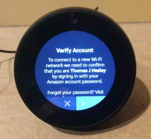 Picture of the speaker, showing its Verify Amazon Account screen.