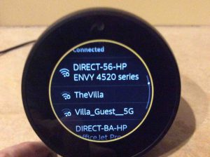 Picture of the Alexa Echo Spot talking smart speaker, showing its WiFi Network Connected Successfully screen.