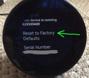 Picture of the Amazon Echo Spot smart speaker, showing the Reset To Factory Defaults option highlighted on its Device Options screen. Factory reset Alexa.