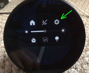 Picture of the Amazon Echo Spot speaker, displaying its Main Menu screen, with the Settings button highlighted.