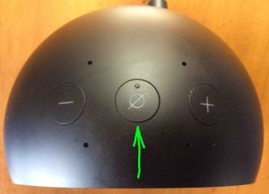 Picture of the Amazon Echo Spot Alexa speaker, top view, showing the Mic Off On Mute button highlighted.