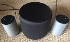 Picture of the Alexa Echo Sub with a pair of Amazon Echo 2nd gen smart speakers.