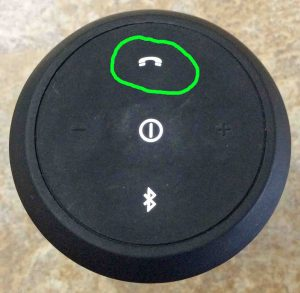 Picture of the JBL Flip 2 Speaker, Showing the Glowing Phone Button Circled