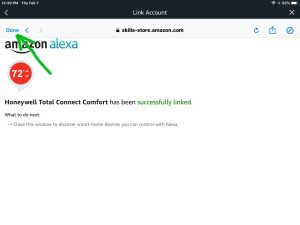 Screenshot of the Alexa app on iOS, displaying its -Link Account- screen, showing that successful linking has happened for the Honeywell Total Connect Comfort skill. The -Done- button is highlighted.