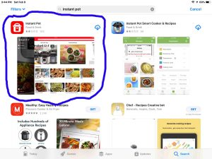 Screenshot of the App Store, showing the correct Instant Pot app to use with the Smart WiFi pressure cooker.