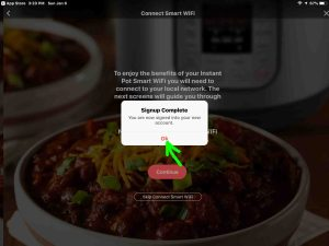 Screenshot of the Instant Pot app on iOS, showing its -Signup Complete- window, with the -OK- button highlighted.