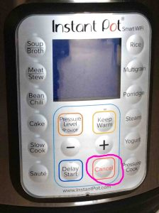 Picture of the Instant Pot electric smart WiFi pressure cooker front view, showing the -Cancel- button circled.