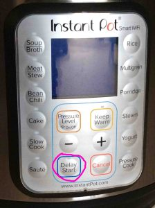 Picture of the Instant Pot smart electric WiFi pressure cooker buttons panel, showing the -Delay Start- button circled.