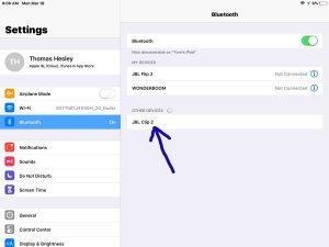 Screenshot of the iOS Bluetooth Settings page, showing the JBL Clip 2 speaker discovered but not paired, highlighted.