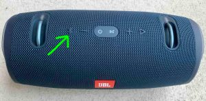 Top view of the power bank speaker, with the -Bluetooth Pairing- button highlighted.