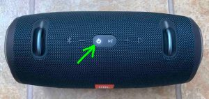 Top view of the speaker, powered ON, but not paired, with its -Power- button highlighted. How to Pair JBL Xtreme 2.