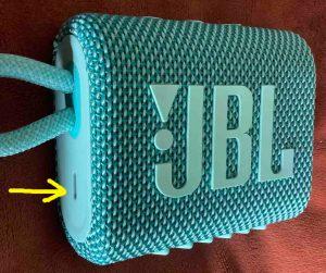 Left side of the JBL Go 3 mini speaker, showing the USB-C power port highlighted.