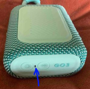 Showing the dark status light on the JBL Go 3 Bluetooth speaker.