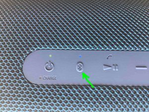 The -Pairing- button on the Sony SRS XB43 Bluetooth speaker.