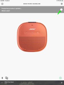 Screenshot of the Bose Connect app, displaying the Preparing Product Update page for SoundLink Micro speaker, at 99 percent done.