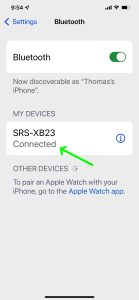 Screenshot of the iPhone Bluetooth Settings page, showing a Sony SRS XB23 speaker as Connected.