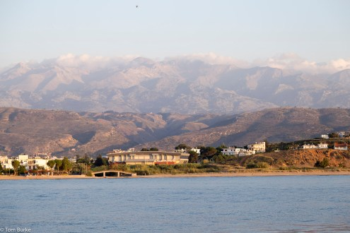 Coastline off Chania, and mountains inland