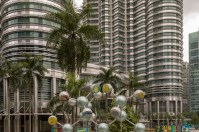 The base of the Petronas Towers