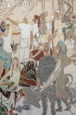 Mosaics on the wall of Cafe Moscow