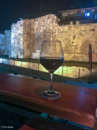 A drink with a view - of the Byzantine walls (iPhone)