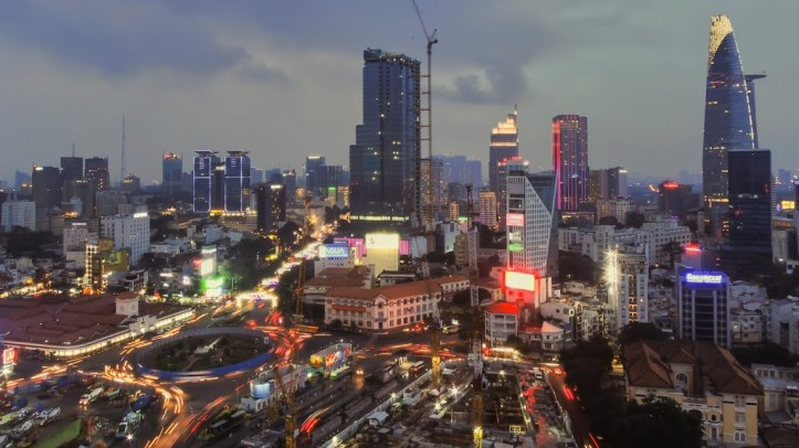 Night scape of Hi Chi Minh City, Vietnam