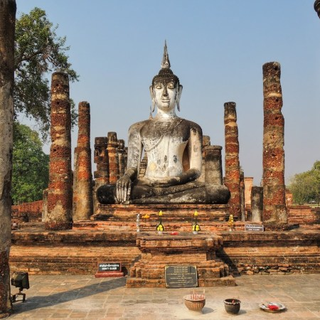 buddha set in temples at sukhothai, thailand