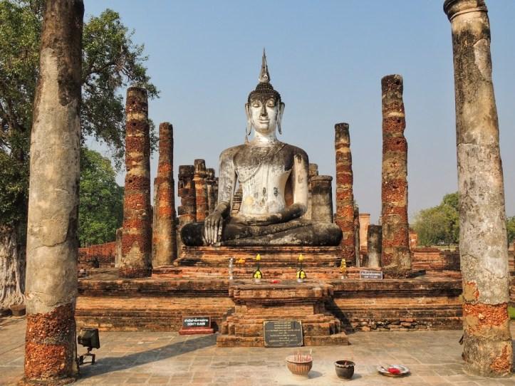 buddha set in temples at sukhothai, thailand