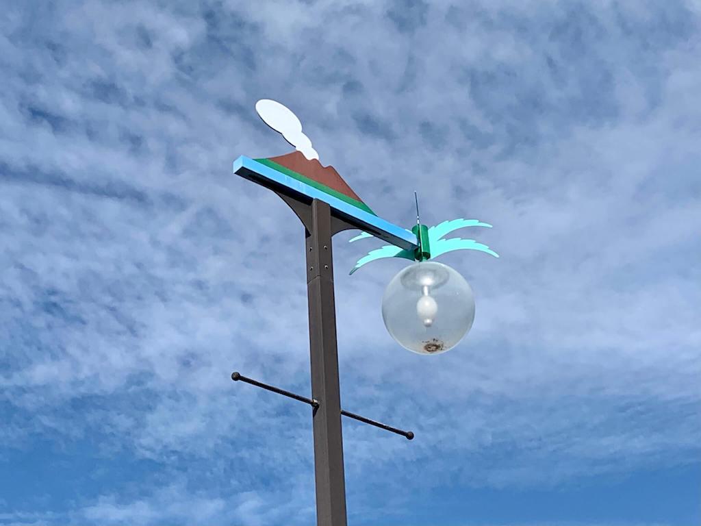 桜島と桜島だいこんの街灯