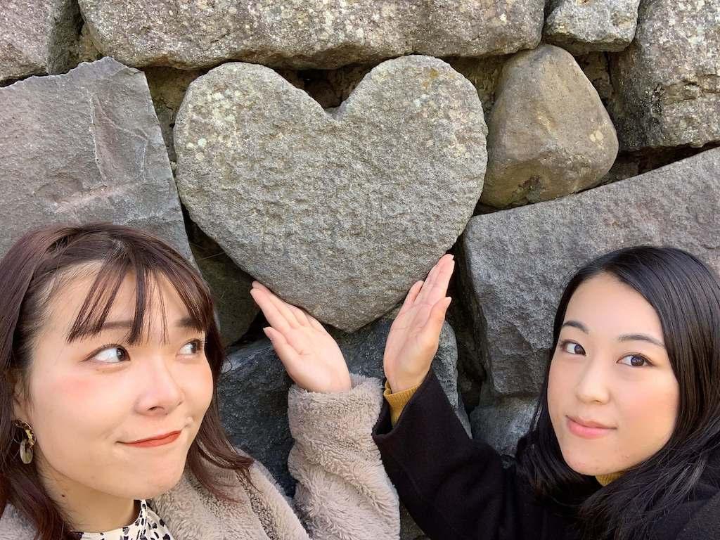 眼鏡橋のハートの石