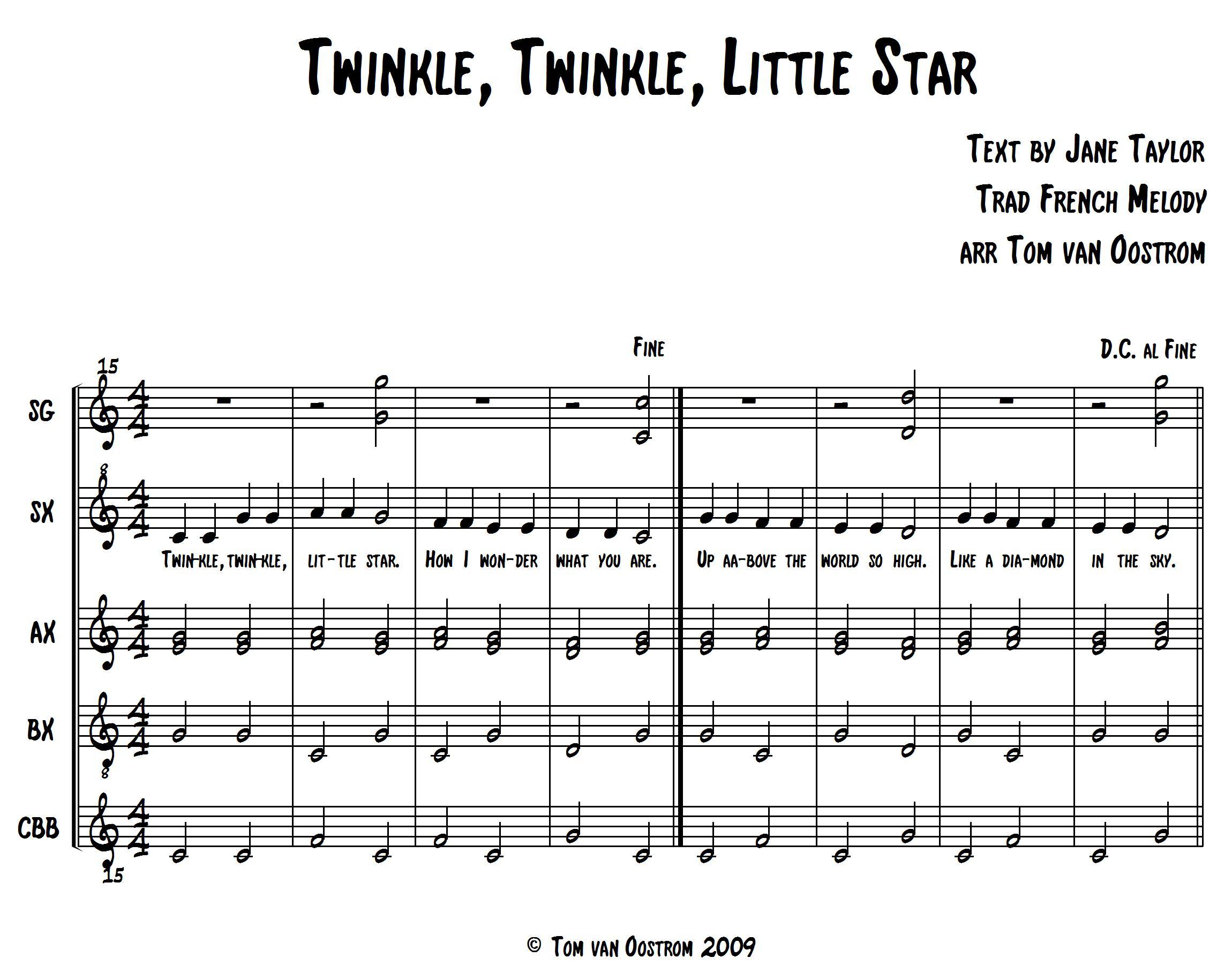 Twinkle Twinkle Little Star Orff Arrangement