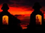 Verlichte Buddha's bij Zonsondergang Bushalte Yangon