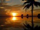 Een zwembad aan het strand, met een palmboom. Wat wil je nog meer