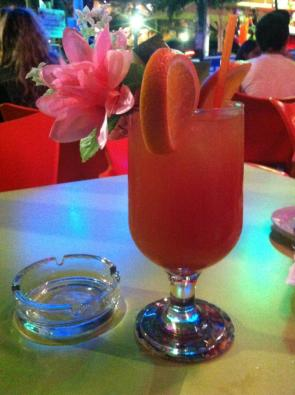 And this is said over-sized cocktail, the flower still in tact.