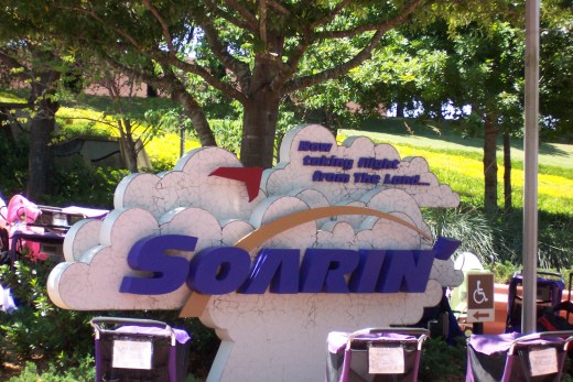 A photograph of the Soarin' sign at Epcot