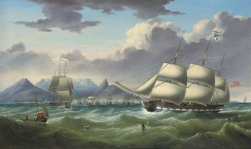 """Duke of Lancaster"" and ""Royal Saxon"" off Cape Town by Samuel Walters"