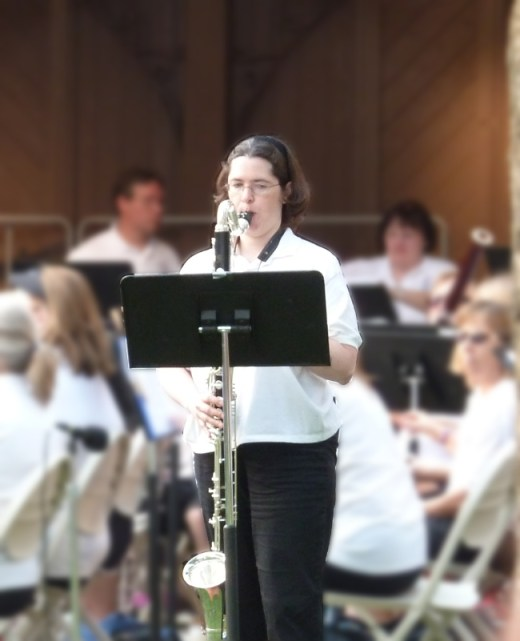 "Me performing ""The Old Grumbly Bear"" with the Crystal Lake Community Band, July 2015"