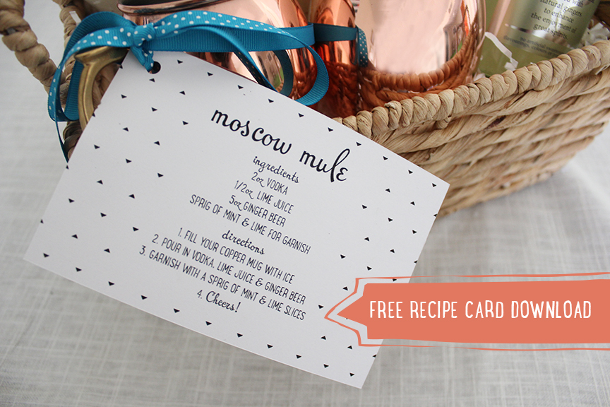 picture regarding Moscow Mule Recipe Printable named Moscow Mule Present Basket - No cost Recipe Card Obtain