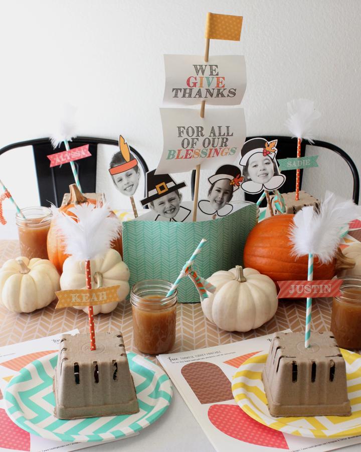Thanksgiving Kids Table - Mayflower Centerpiece - Thankful Turkey